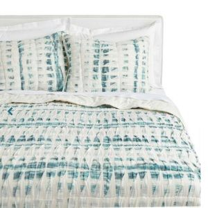 Two Ivory and Dark Teal Pin-tucked Pillow Shams